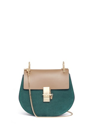 Main View - Click To Enlarge - Chloé - 'Drew' leather flap suede shoulder bag