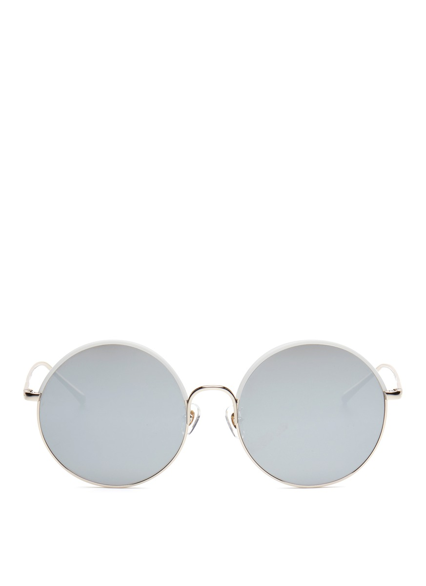 Cantabile wrapped acetate rim metal round mirror sunglasses by Stephane + Christian