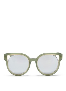 Stephane + Christian 'Dali' inset metal rim acetate mirror sunglasses