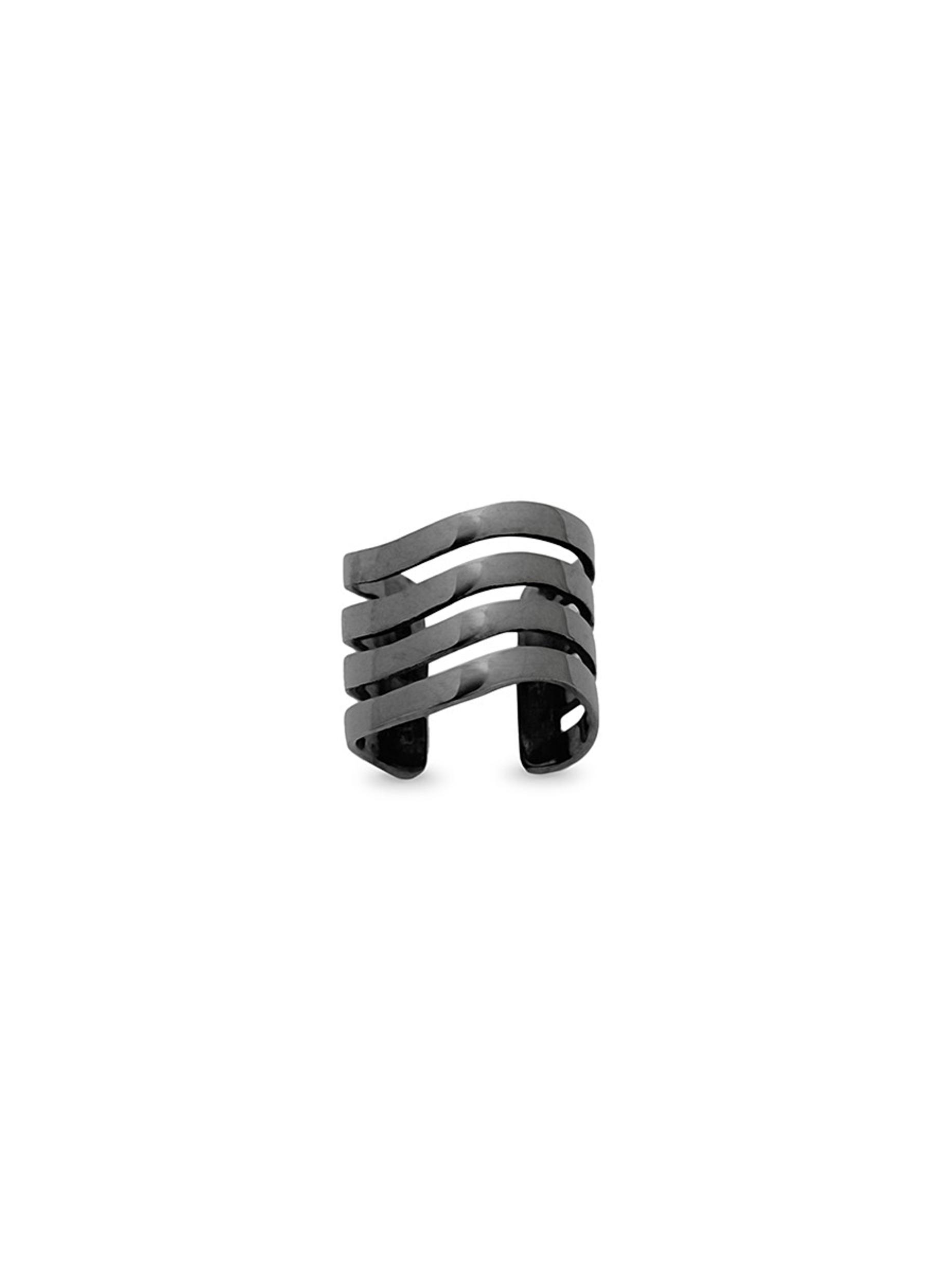 LYNN BAN 'Coil' black rhodium single ear cuff