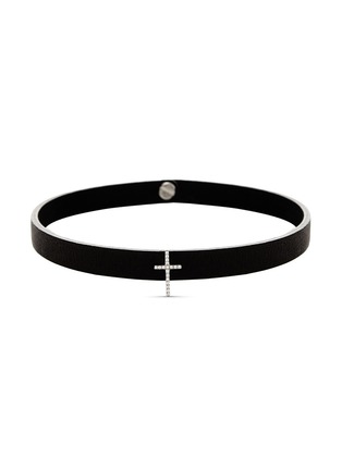 Main View - Click To Enlarge - Lynn Ban - 'Pavé Cross Stud' diamond leather choker
