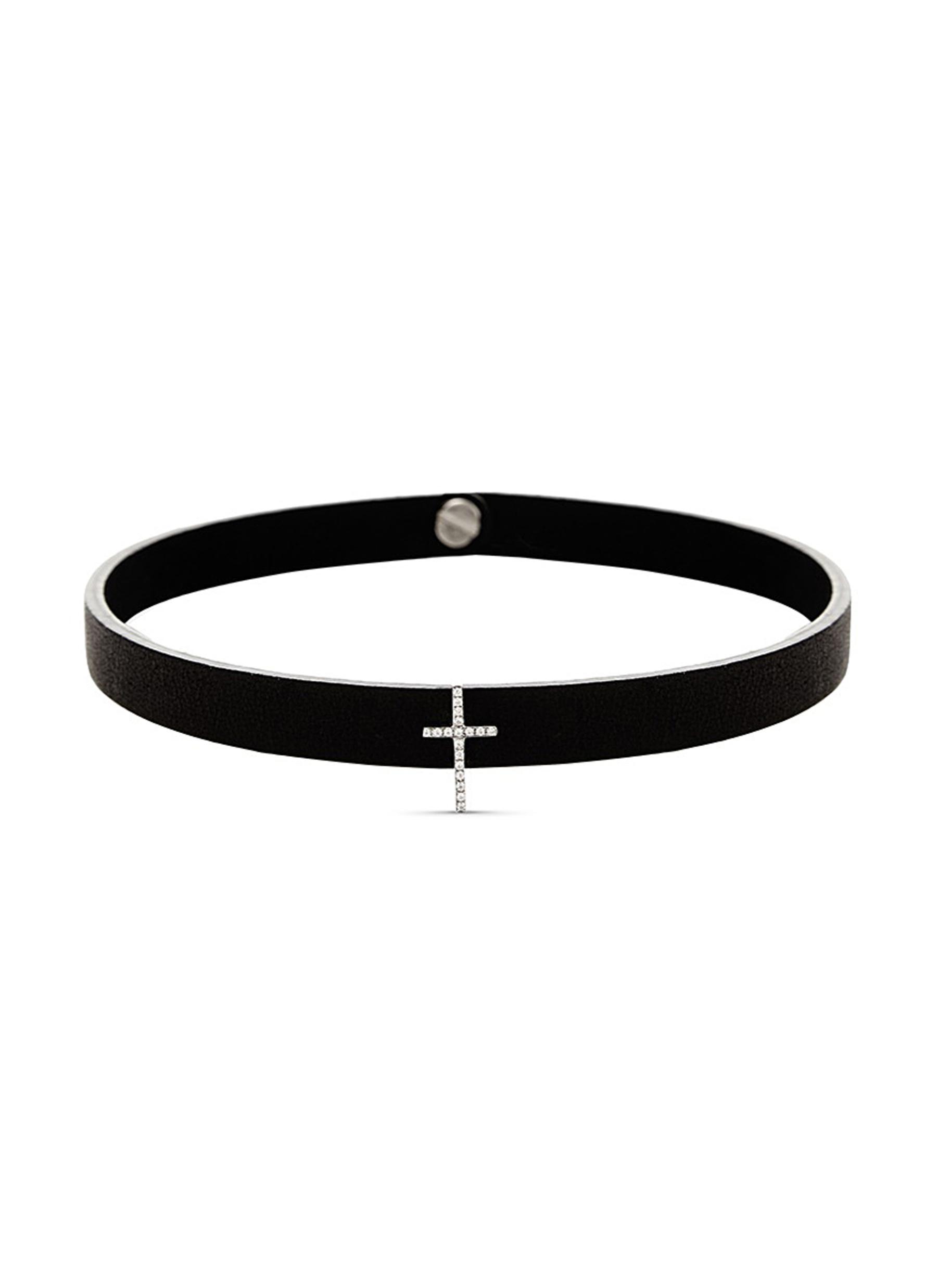 LYNN BAN 'Pavé Cross Stud' diamond leather choker