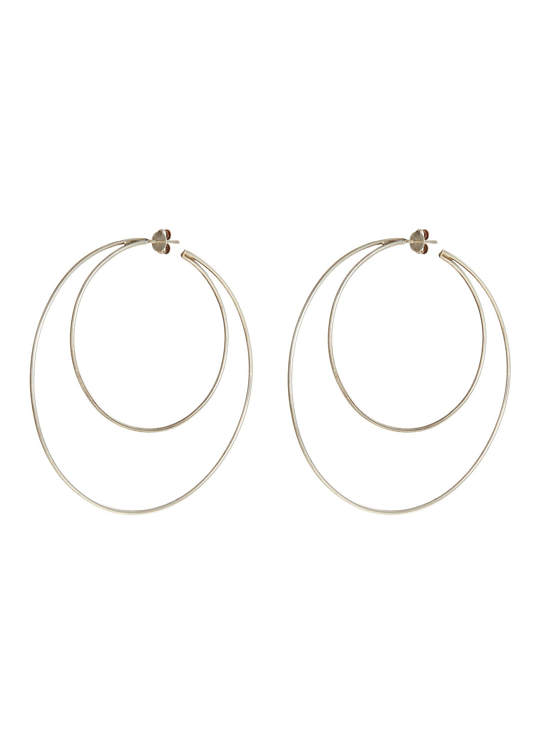 Crescent Hoops sterling silver earrings by Lynn Ban