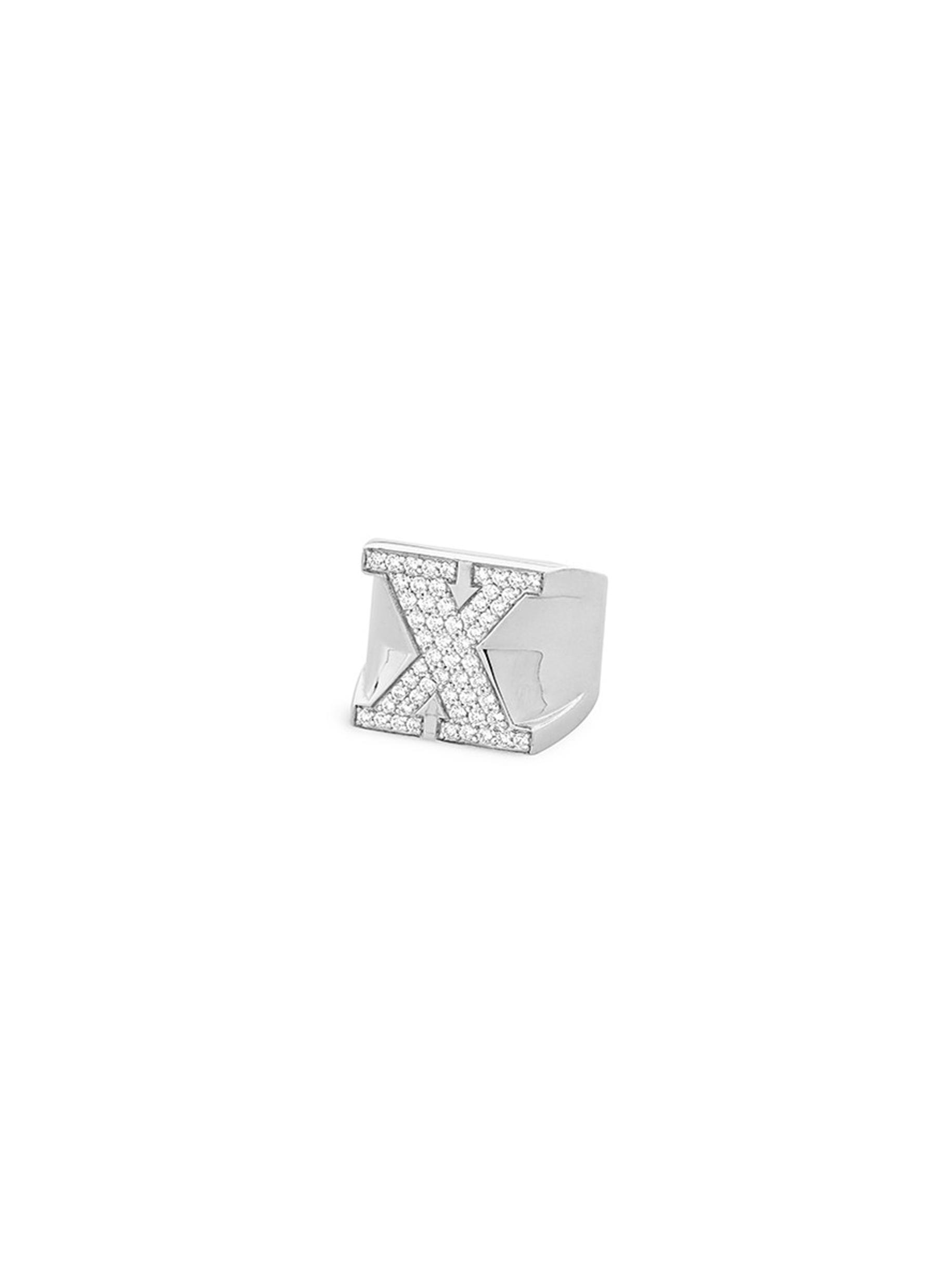 Pavé X diamond sterling silver ring by Lynn Ban