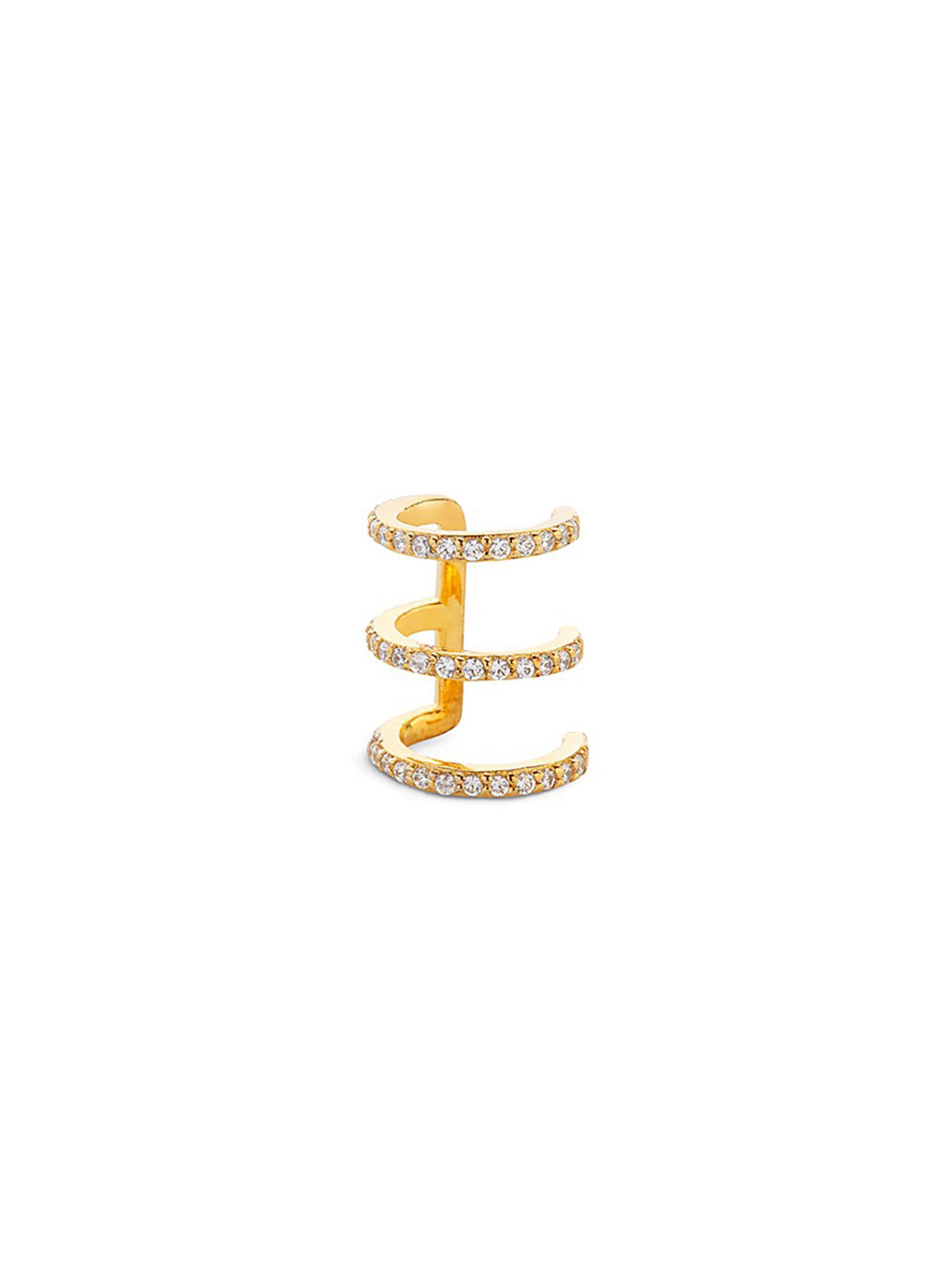 3Coil diamond 14k gold single ear cuff by Lynn Ban