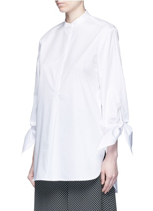 Front View - Click To Enlarge - Tibi - Tie cuff poplin shirt tunic
