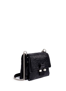 Alexander McQueen Twin skull quilted butterfly leather satchel