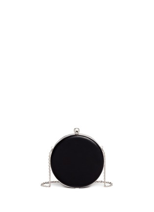 Detail View - Click To Enlarge - Alexander McQueen - Skull embellished pocket watch leather round clutch