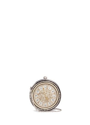 Main View - Click To Enlarge - Alexander McQueen - Skull embellished pocket watch leather round clutch