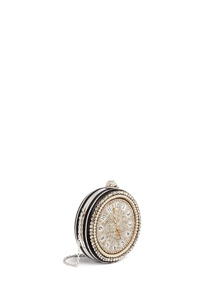 Figure View - Click To Enlarge - Alexander McQueen - Skull embellished pocket watch leather round clutch