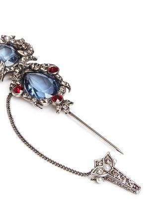 Detail View - Click To Enlarge - Alexander McQueen - Crown skull Swarovski crystal brooch