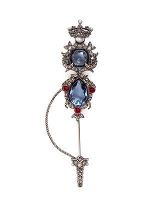 Main View - Click To Enlarge - Alexander McQueen - Crown skull Swarovski crystal brooch