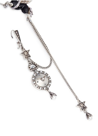 Detail View - Click To Enlarge - Alexander McQueen - 'Noctural Obsession' Pegasus cuff pavé chain single earring