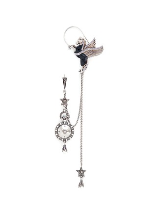 Main View - Click To Enlarge - Alexander McQueen - 'Noctural Obsession' Pegasus cuff pavé chain single earring