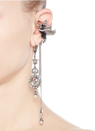 Figure View - Click To Enlarge - Alexander McQueen - 'Noctural Obsession' Pegasus cuff pavé chain single earring