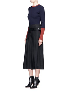 Victoria Beckham Tuck pleat wool flannel culottes
