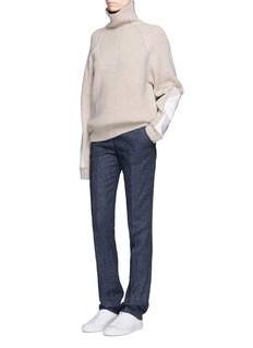Victoria Beckham Military elbow patch turtleneck wool sweater