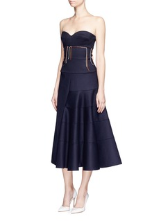 Victoria Beckham Knotted stripe strapless wool bustier dress