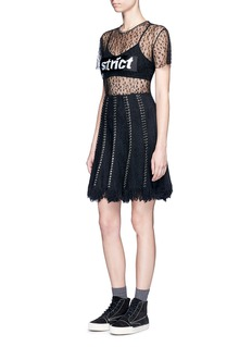 Alexander Wang  Pierced eyelet fringe tweed skirt