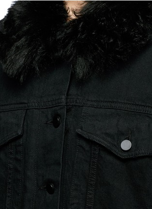 Detail View - Click To Enlarge - Alexander Wang  - Lambskin shearling lined boyfriend denim jacket
