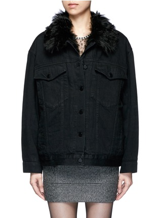 Main View - Click To Enlarge - Alexander Wang  - Lambskin shearling lined boyfriend denim jacket