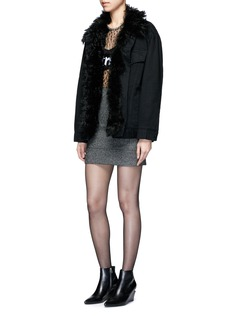 Alexander Wang  Lambskin shearling lined boyfriend denim jacket