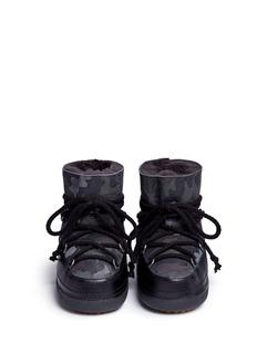 INUIKII''Camouflage' print sheepskin shearling kids boots