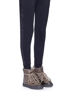 INUIKIISheepskin shearling cable knit wedge sneaker boots