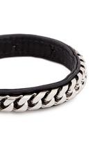 'Monaco Single Wrap' silver chain leather bracelet
