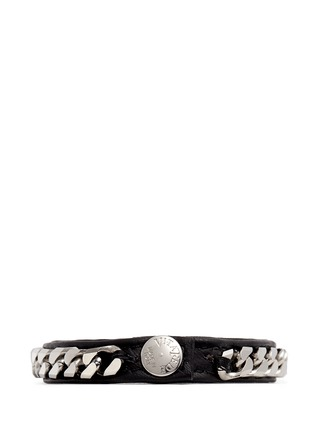 VITA FEDE-'Monaco Single Wrap' silver chain leather bracelet