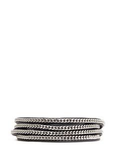 VITA FEDE'Capri 5 Wrap' silver chain leather bracelet