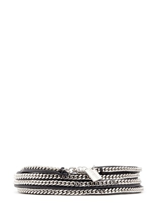 VITA FEDE - 'Capri 5 Wrap' silver chain leather bracelet