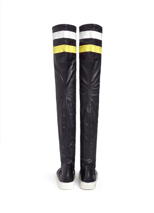 Back View - Click To Enlarge - Eugène Riconneaus - 'E-high' stripe leather thigh high sneaker boots