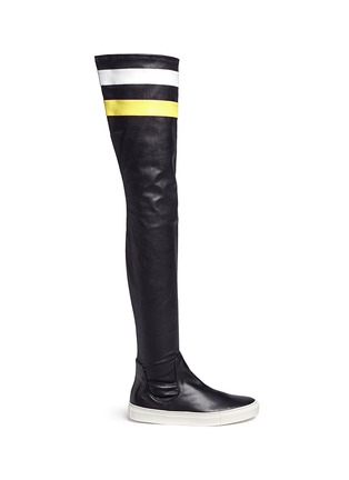 Main View - Click To Enlarge - Eugène Riconneaus - 'E-high' stripe leather thigh high sneaker boots