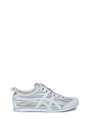 Main View - Click To Enlarge - Onitsuka Tiger - 'Mexico 66' herringbone stripe slip-on sneakers
