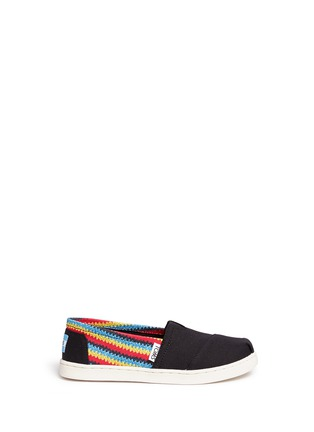 Main View - Click To Enlarge -  - Youth Classic raffia print canvas kids slip-ons