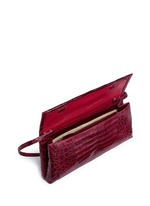 'Gotham' crocodile leather shoulder strap clutch