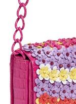 'Gio' flower appliqué crocodile leather crossbody bag