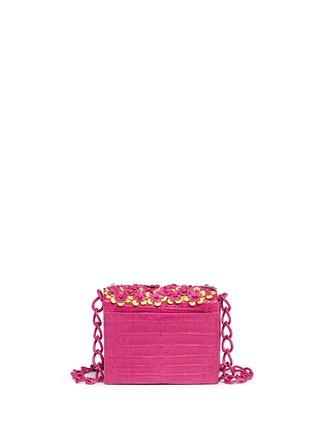 Back View - Click To Enlarge - Nancy Gonzalez - 'Gio' flower appliqué crocodile leather crossbody bag