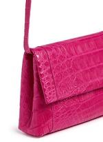 'Gotham' crocodile leather shoulder strap clutch