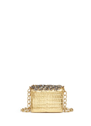Back View - Click To Enlarge - Nancy Gonzalez - 'Gio' flower appliqué metallic crocodile leather crossbody bag