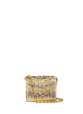 Main View - Click To Enlarge - Nancy Gonzalez - 'Gio' flower appliqué metallic crocodile leather crossbody bag