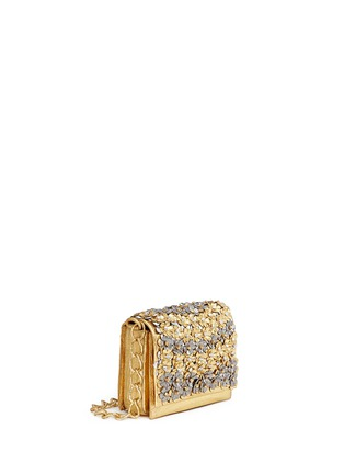 Figure View - Click To Enlarge - Nancy Gonzalez - 'Gio' flower appliqué metallic crocodile leather crossbody bag