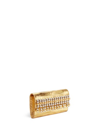 Figure View - Click To Enlarge - Nancy Gonzalez - Embellished metallic crocodile leather clutch