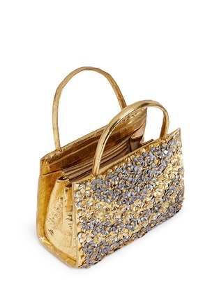 Detail View - Click To Enlarge - Nancy Gonzalez - 'Small Wallis' flower appliqué metallic crocodile leather bag