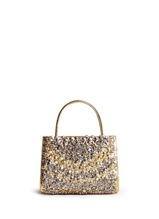 Main View - Click To Enlarge - Nancy Gonzalez - 'Small Wallis' flower appliqué metallic crocodile leather bag