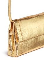 'Gotham' metallic crocodile leather shoulder strap clutch