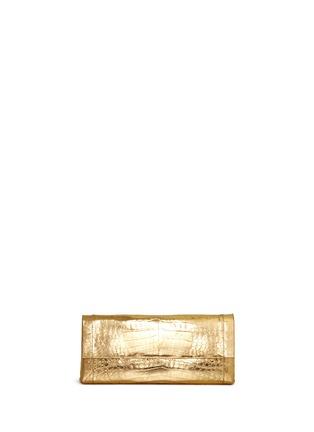 Main View - Click To Enlarge - Nancy Gonzalez - 'Gotham' metallic crocodile leather shoulder strap clutch