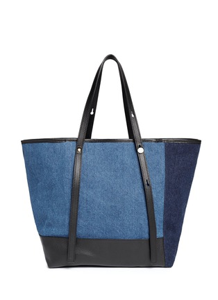 Back View - Click To Enlarge - See by Chloé - 'Andy' leather trim cotton denim patchwork tote