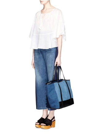 Figure View - Click To Enlarge - See by Chloé - 'Andy' leather trim cotton denim patchwork tote
